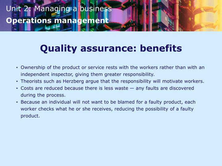 Quality assurance: benefits