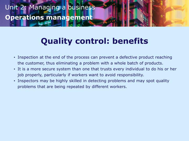 Quality control: benefits