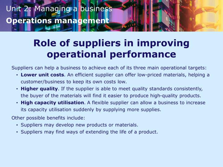 Role of suppliers in improving operational performance