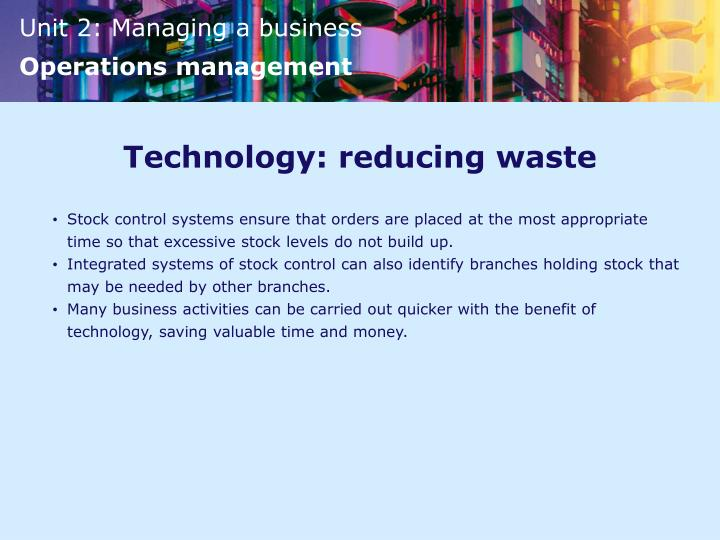 Technology: reducing waste