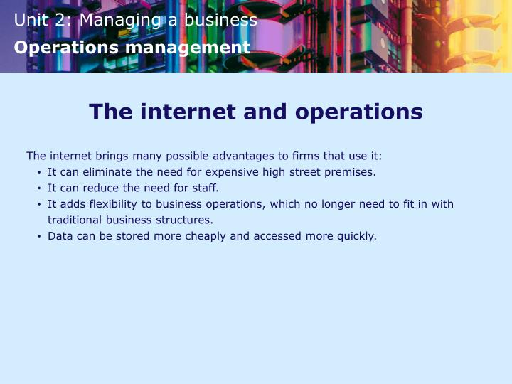 The internet and operations