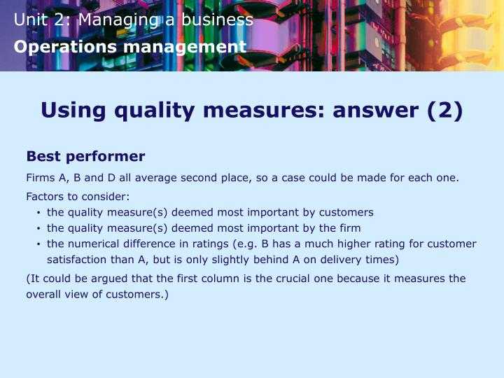 Using quality measures: answer (2)