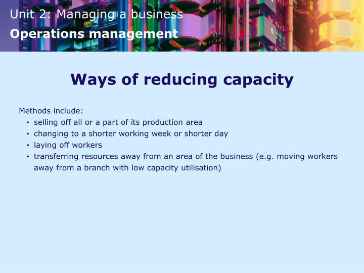 Ways of reducing capacity