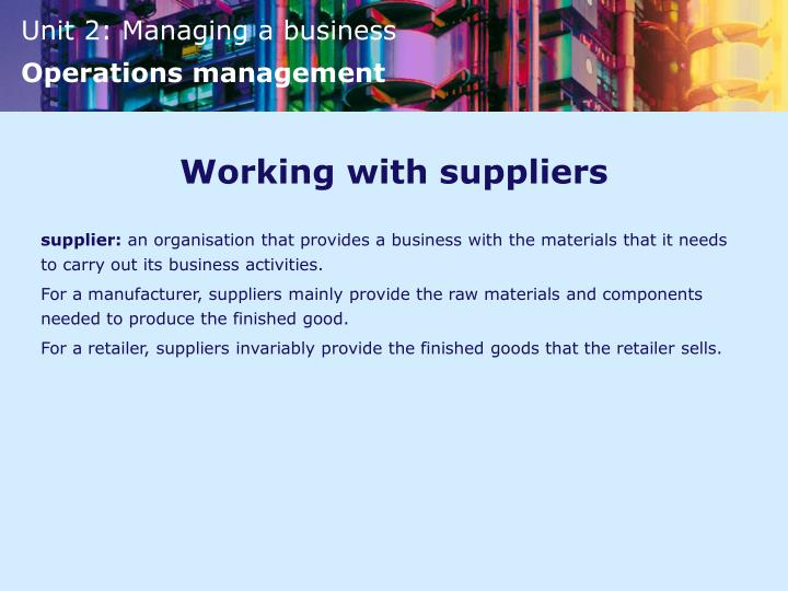 Working with suppliers