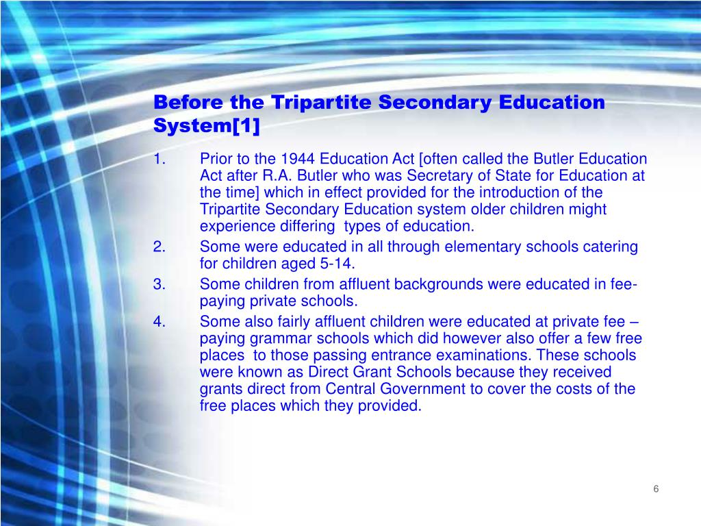 Before the Tripartite Secondary Education System[1]