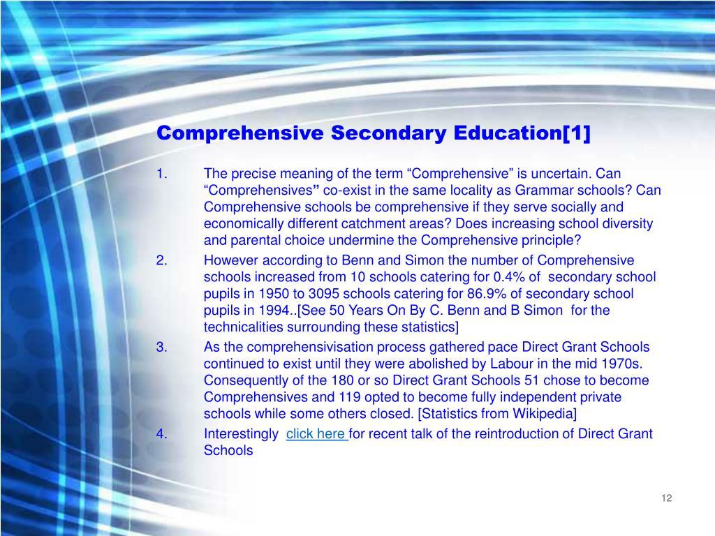 Comprehensive Secondary Education[1]