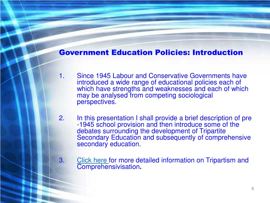 Government Education Policies: Introduction