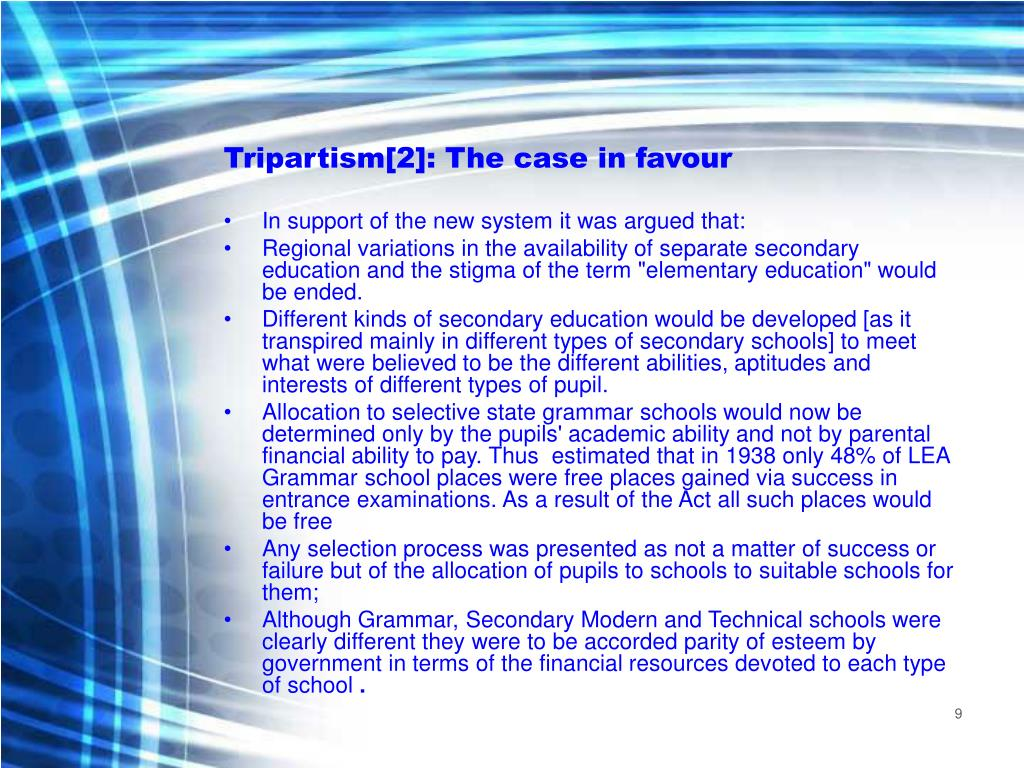 Tripartism[2]: The case in favour