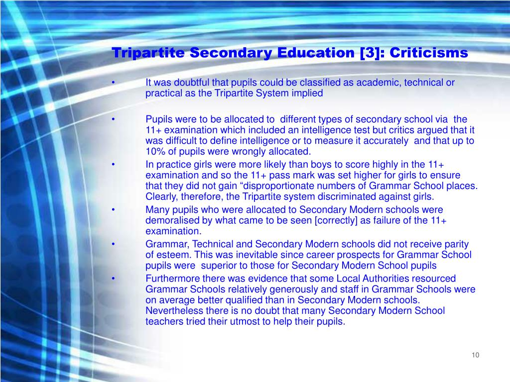 Tripartite Secondary Education [3]: Criticisms