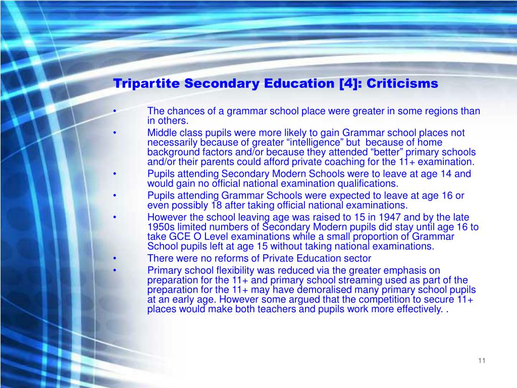 Tripartite Secondary Education [4]: Criticisms