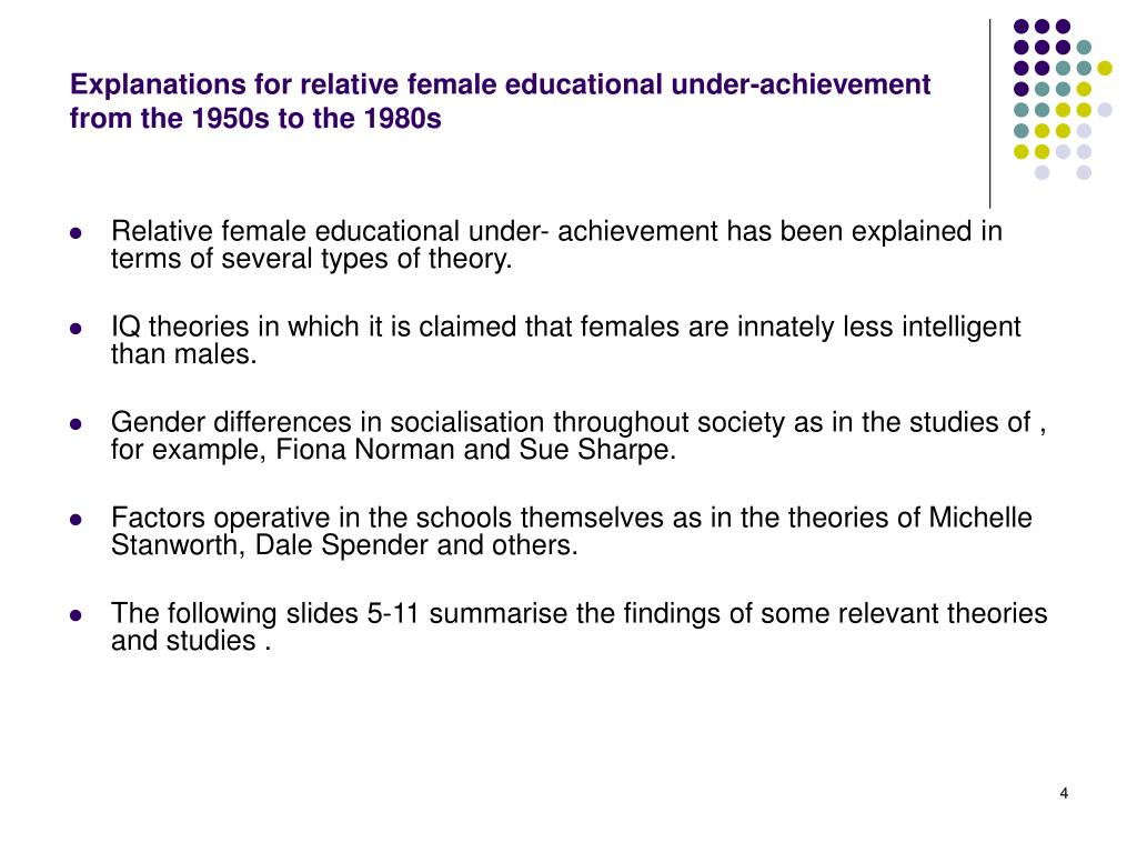 Explanations for relative female educational under-achievement from the 1950s to the 1980s