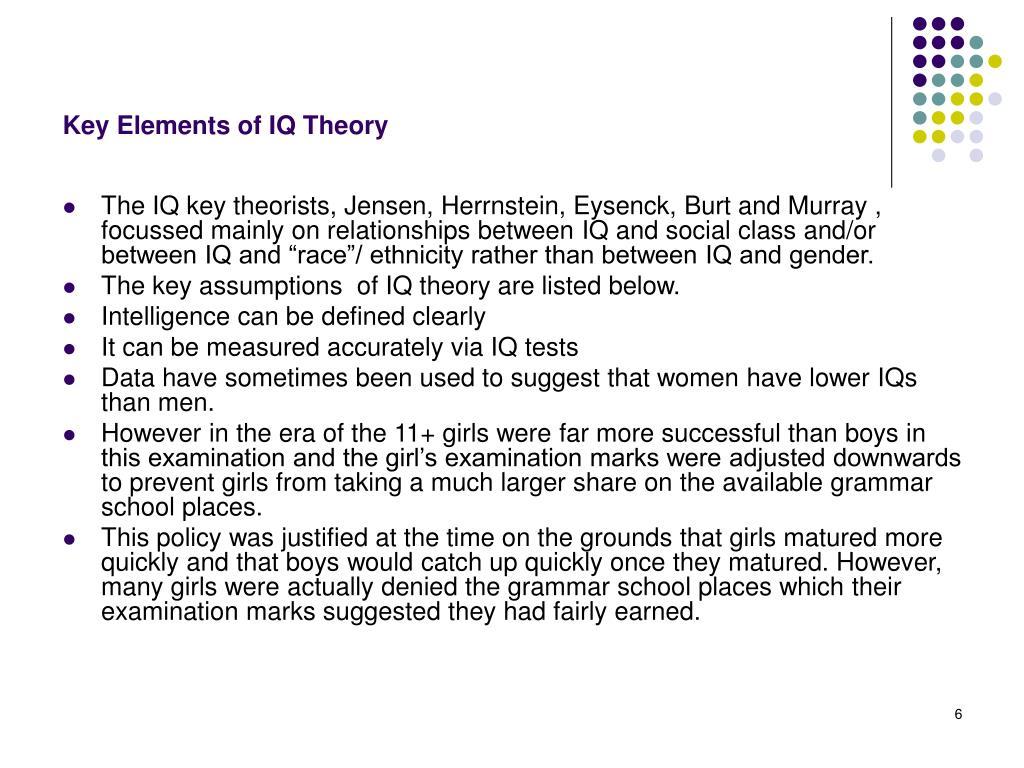Key Elements of IQ Theory