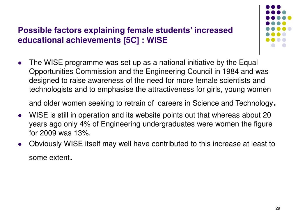 Possible factors explaining female students' increased educational achievements [5C] : WISE