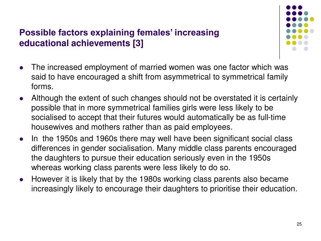 Possible factors explaining females' increasing educational achievements [3]