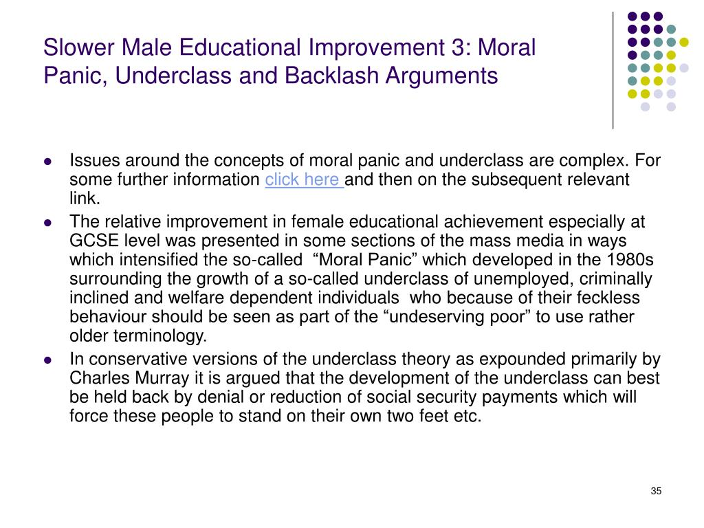 Slower Male Educational Improvement 3: Moral Panic, Underclass and Backlash Arguments