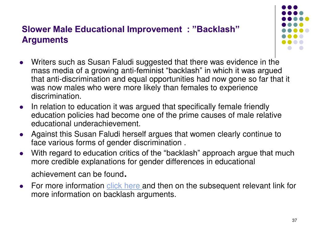 "Slower Male Educational Improvement  : ""Backlash"" Arguments"