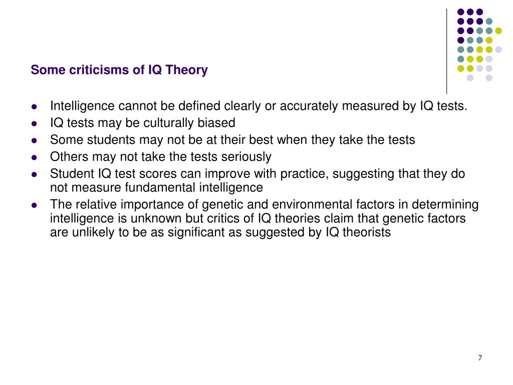 Some criticisms of IQ Theory