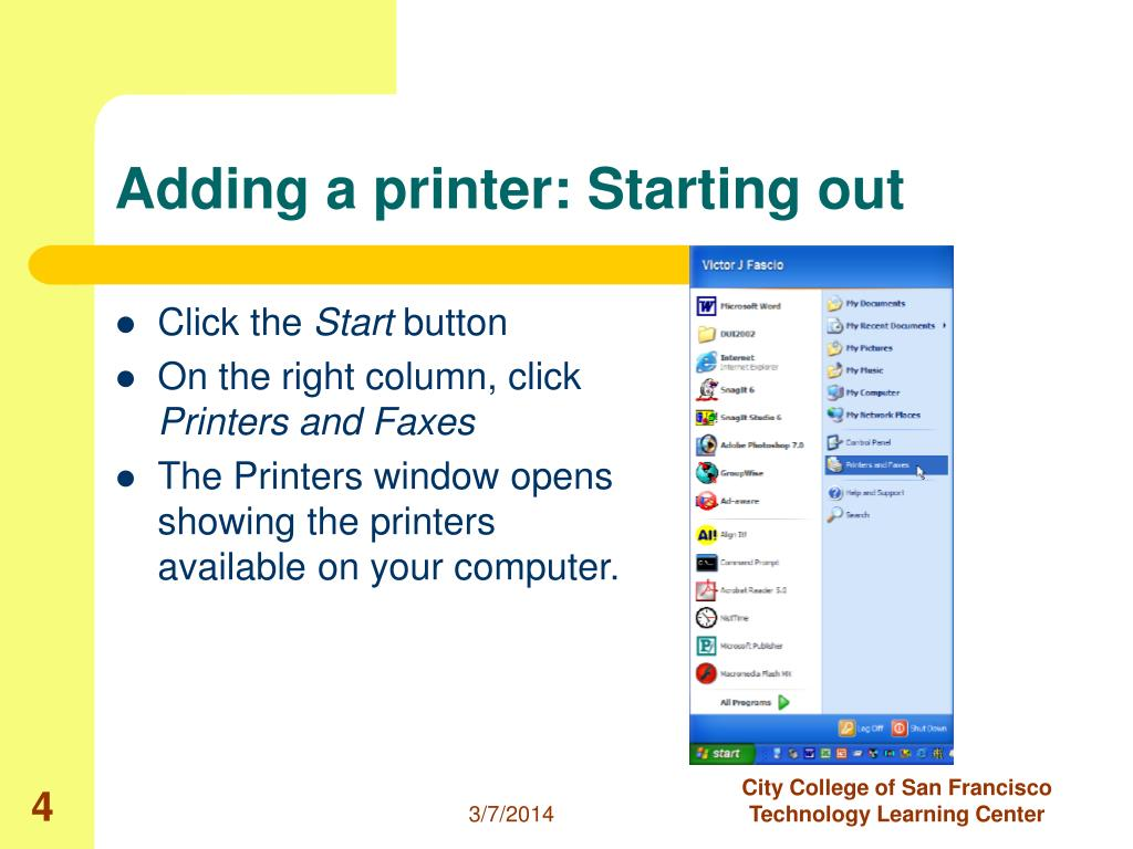 Adding a printer: Starting out