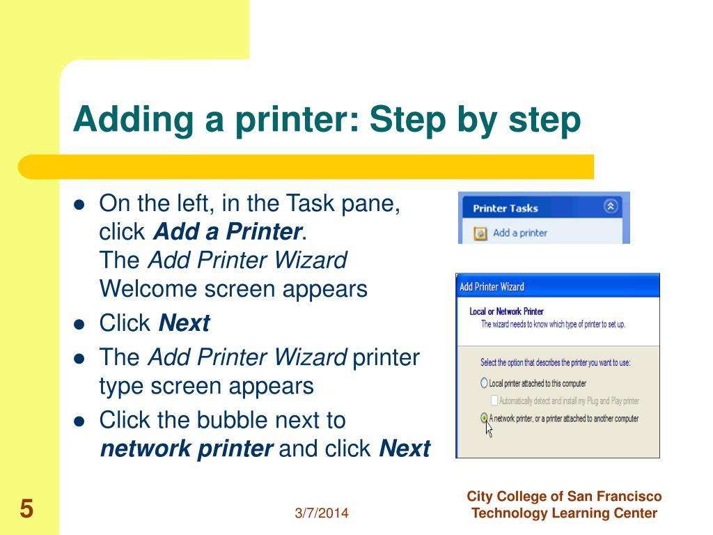 Adding a printer: Step by step