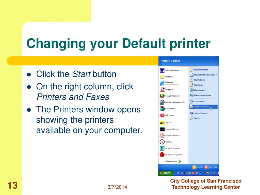 Changing your Default printer