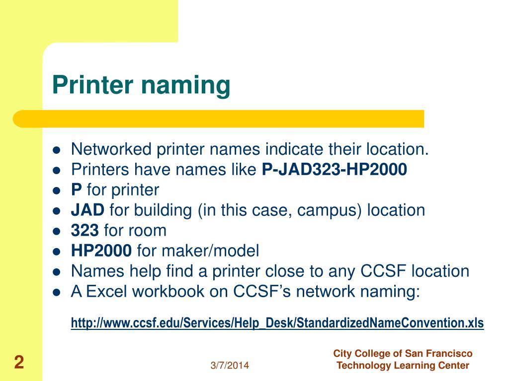 Printer naming