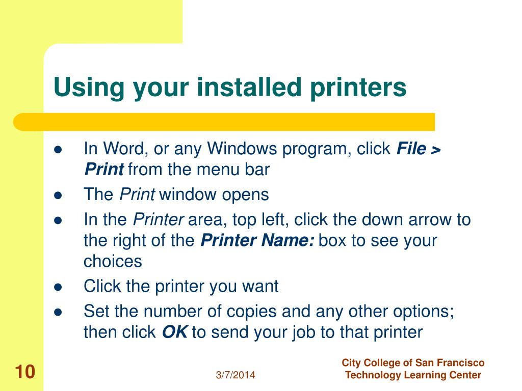 Using your installed printers