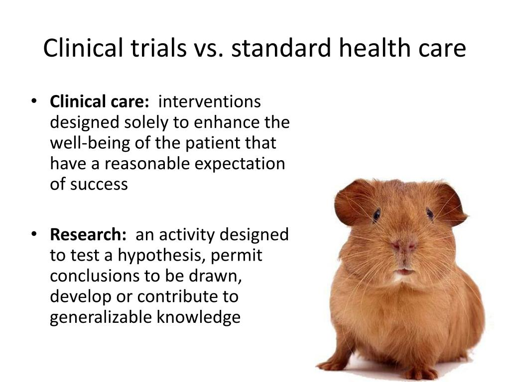 Clinical trials vs. standard health care