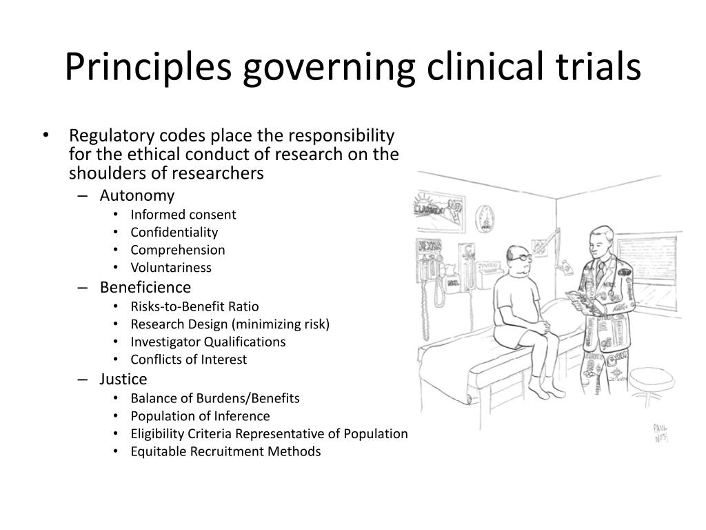 Principles governing clinical trials