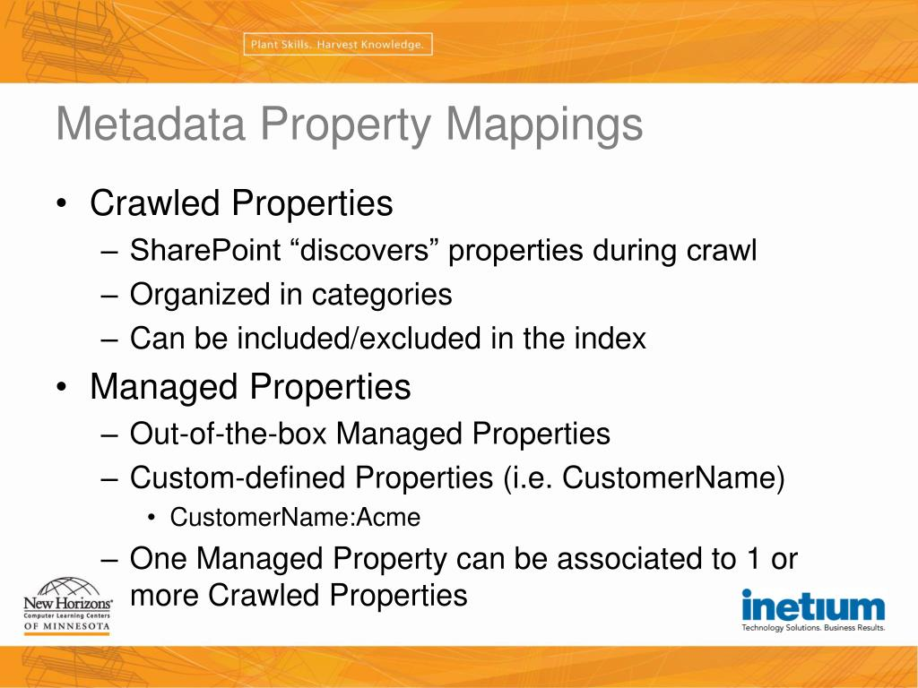 Metadata Property Mappings