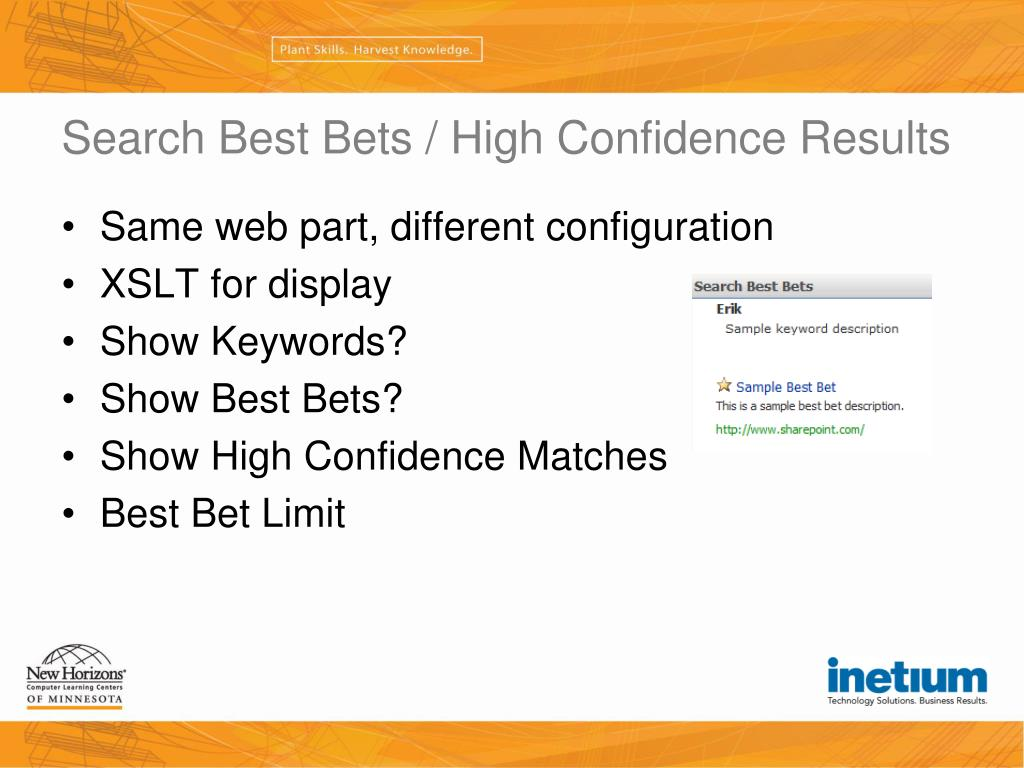 Search Best Bets / High Confidence Results