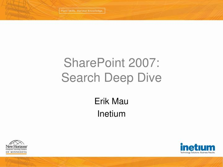 Sharepoint 2007 search deep dive