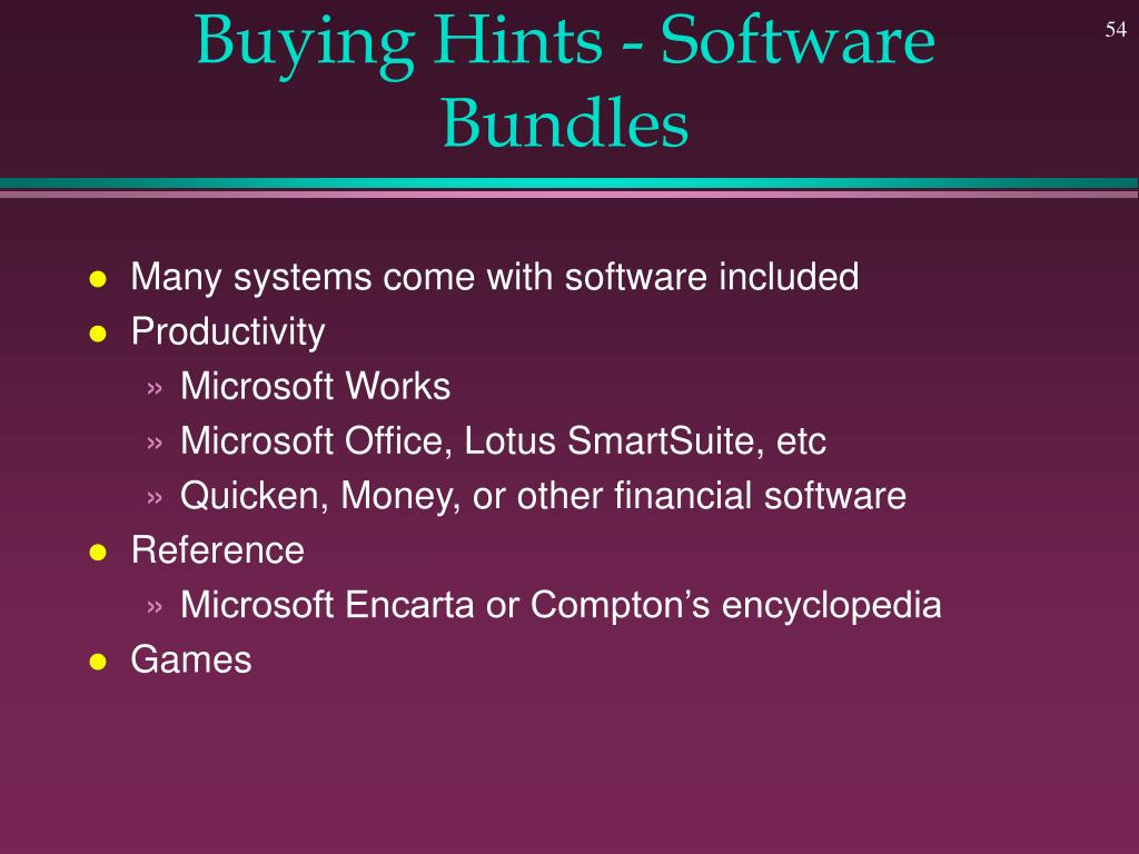 Buying Hints - Software Bundles