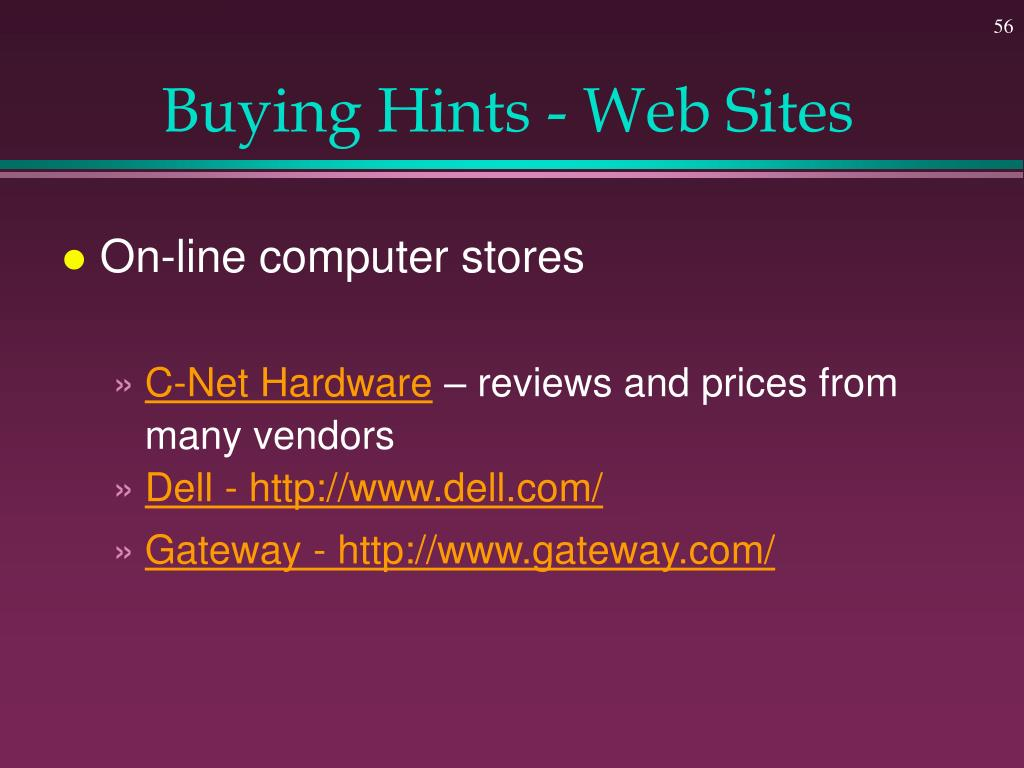 Buying Hints - Web Sites