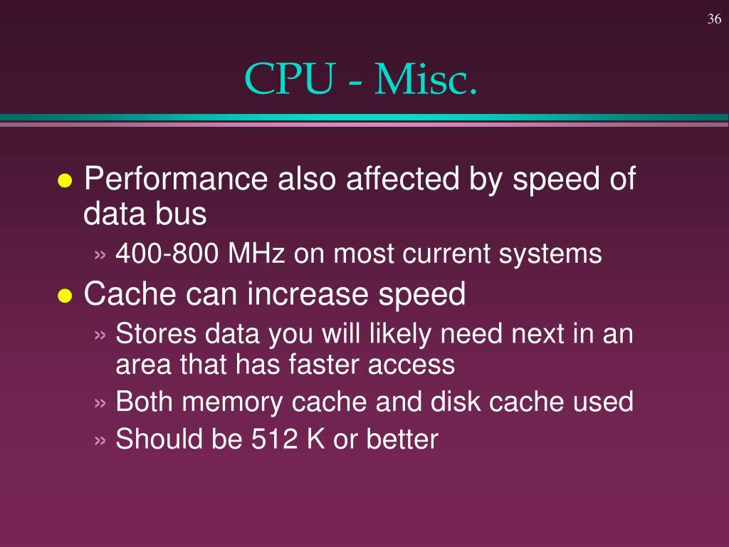 CPU - Misc.