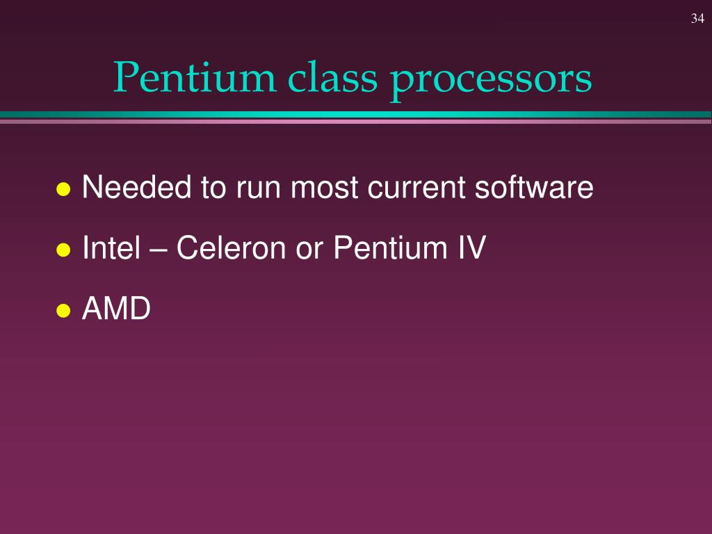 Pentium class processors