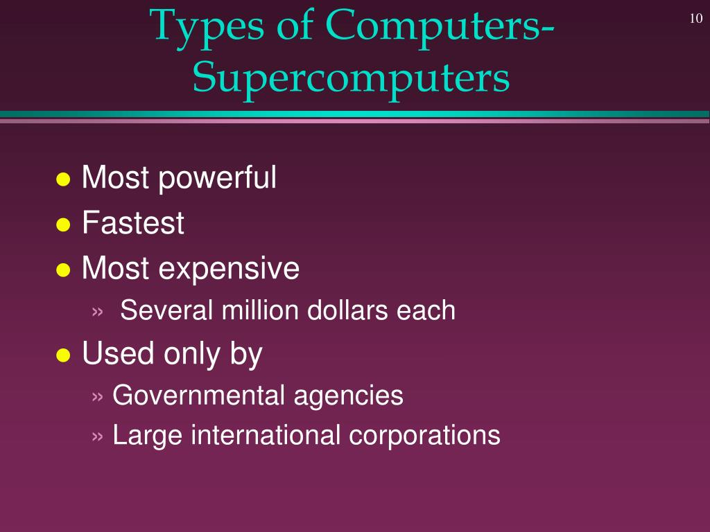 Types of Computers- Supercomputers