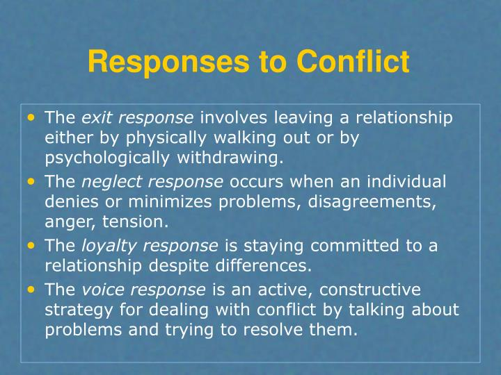 Responses to Conflict