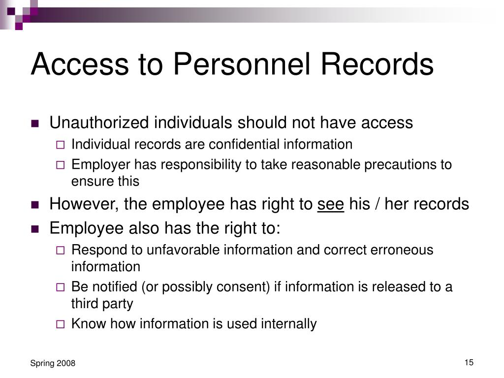 Access to Personnel Records