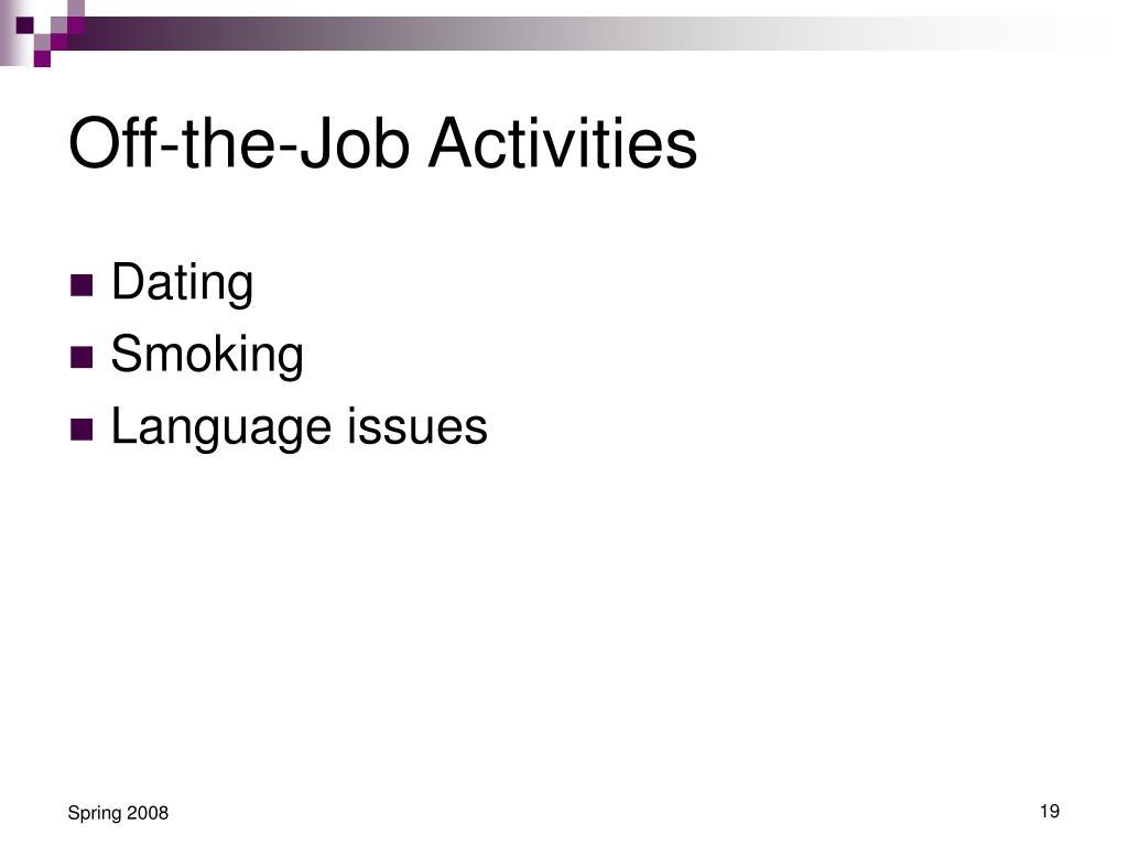 Off-the-Job Activities