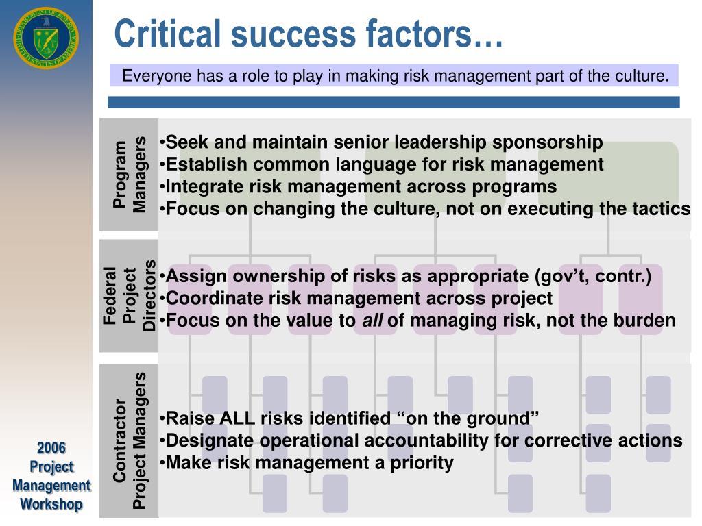 Critical success factors…