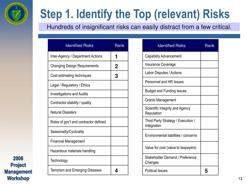 Step 1. Identify the Top (relevant) Risks