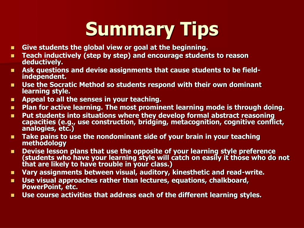Summary Tips
