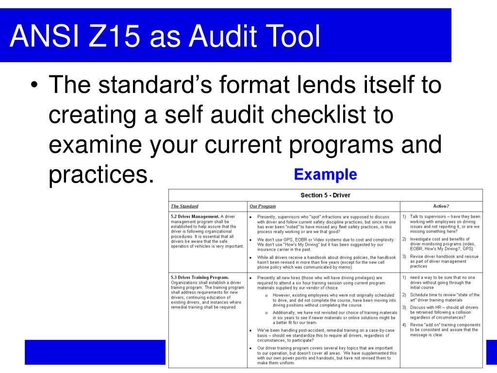 ANSI Z15 as Audit Tool