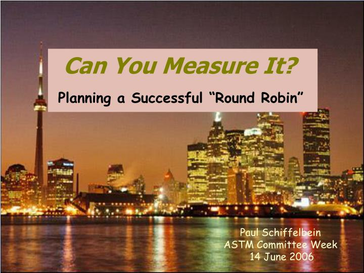 """Planning a Successful """"Round Robin"""""""