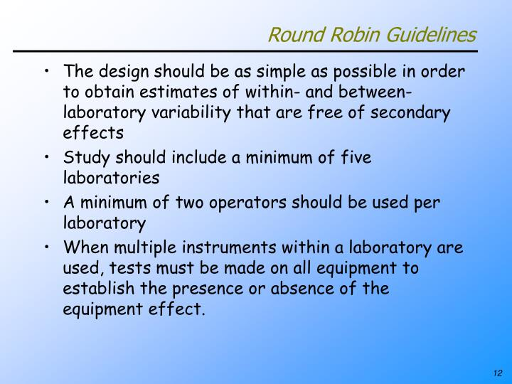 Round Robin Guidelines