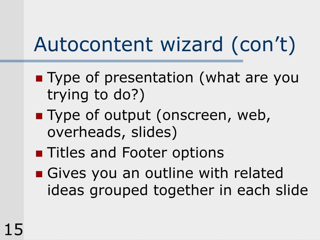 Autocontent wizard (con't)