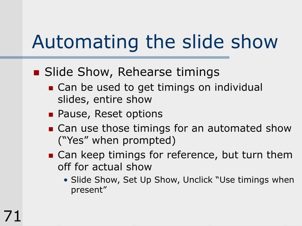 Automating the slide show