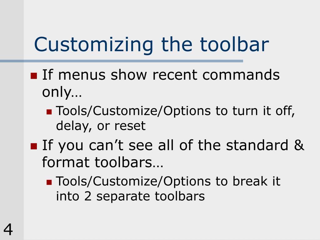 Customizing the toolbar