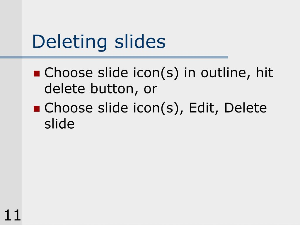 Deleting slides