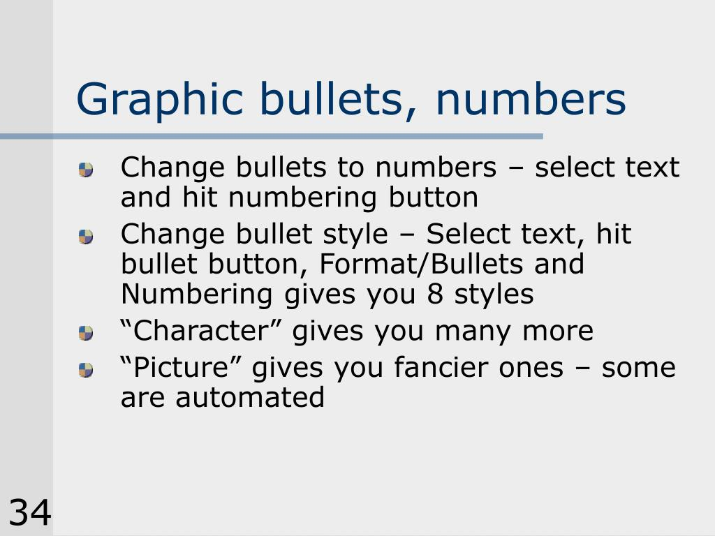 Graphic bullets, numbers